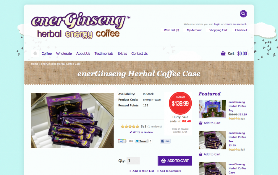 enerGinseng Herbal Coffee Case_1330591751934