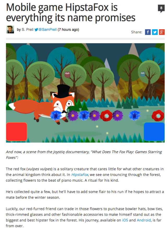 Mobile game HipstaFox is everything its name promises   Joystiq